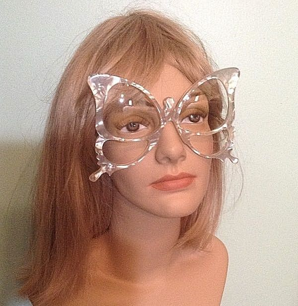 Rare Vtg Anglo American Pearlized Oversize Butterfly Frame Eyeglasses England