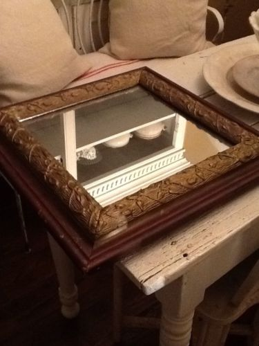Antique Victorian Primitive Wood Mirror Gesso Picture Frame