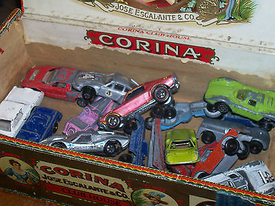 old Corina Club House cigar box filled with toy cars Tootsie,Hot Wheels,Zylmex