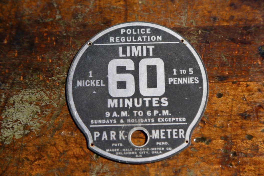 POLICE Vintage Parking Meter Park-O-Meter 60 Minute Limit Metal Plate Old Emblem