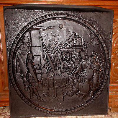 VINTAGE  CAST IRON FIGURAL FIREPLACE INSERT / SUMMER COVER COLONIAL