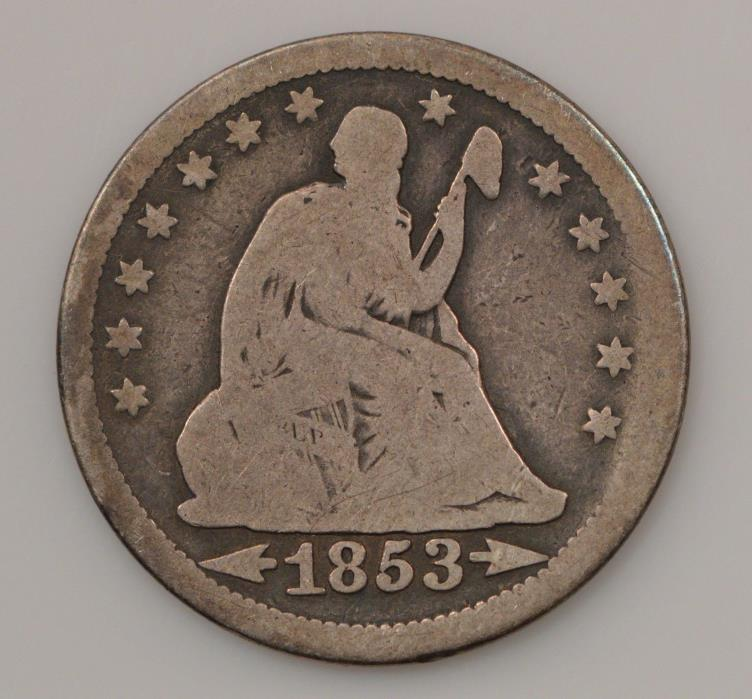 1853-P Seated Liberty Silver Quarter Dollar *G10