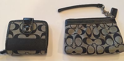 Coach Black Signature C small wallet and cosmetic case