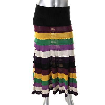 Catherine Malandrino 7251 Womens Multi Silk Colorblock Maxi Skirt S BHFO