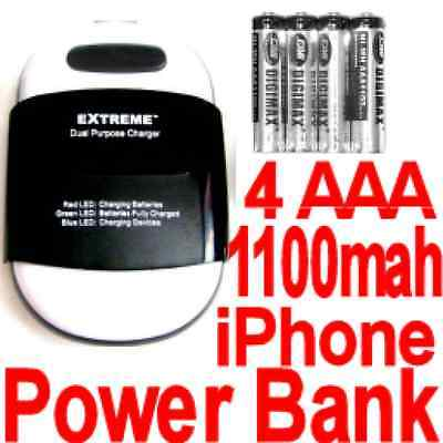 4 AAA Battery power bank+charger for Blackberry Peral / Samsung Galaxy S7/S6/S5