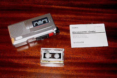 Sony Microcassette M-455 Clear Voice Plus Recorder