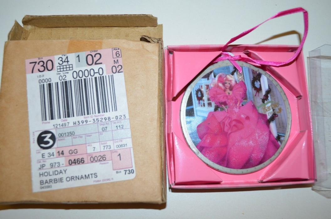 Barbie 1990 HAPPY HOLIDAYS Porcelain  Christmas Tree Ornament by Enesco