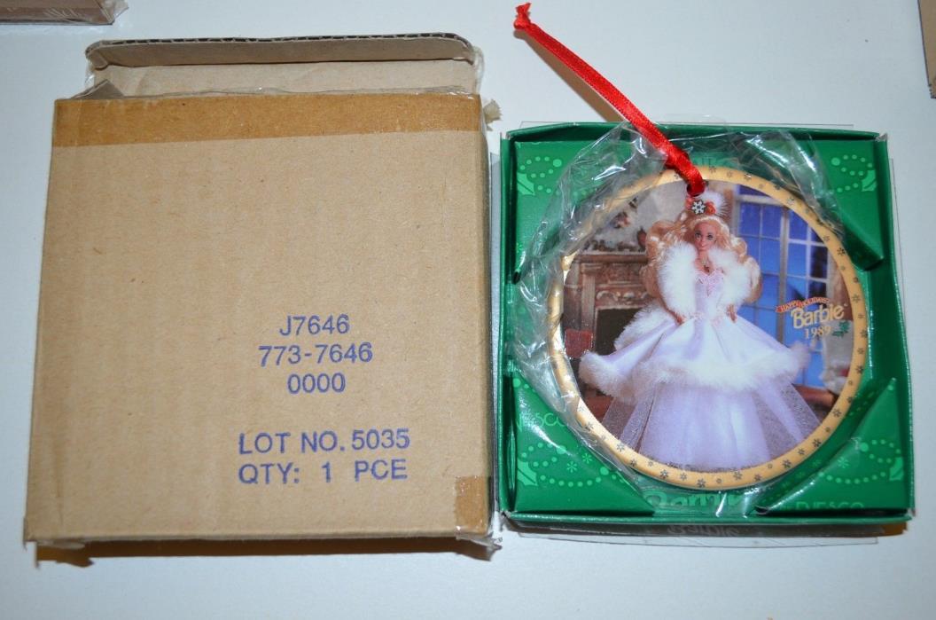 Barbie 1989 HAPPY HOLIDAYS Porcelain  Christmas Tree Ornament by Enesco