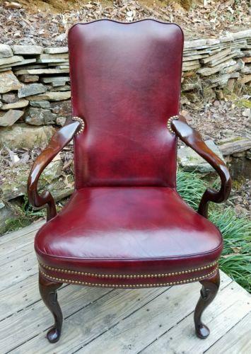 ~RARE~Hancock & Moore High End Red Leather Kensington Gooseneck Chair~ESTATE~