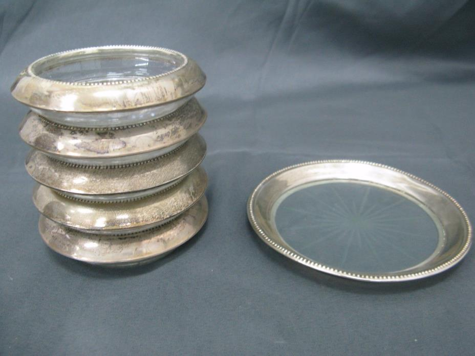 5 Sterling Glass Saucers & 1 Plate Frank M. Whiting