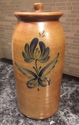 2008 ROWE POTTERY HANDMADE HISTORICAL COLLECTION SALT GLAZED JAR