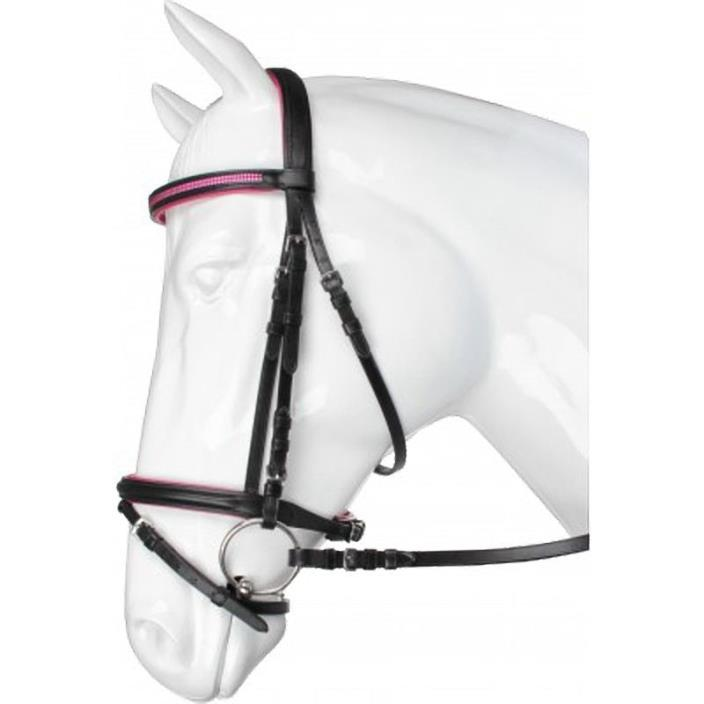 Black and Pink Leather Snaffle English/Dressage Bridle