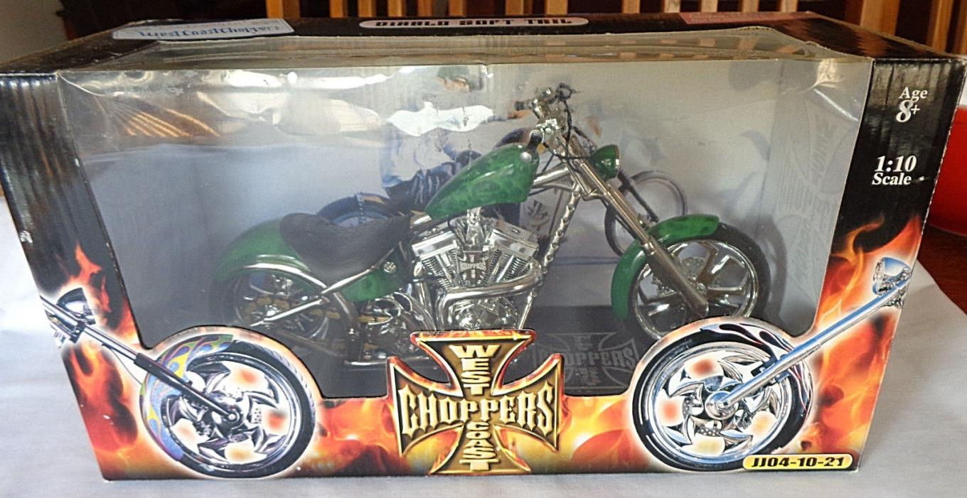 New in Box West Coast Choppers Green Diablo Soft Tail Jesse James 1:10 scale