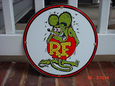 RAT FINK SIGN PORCELAIN SIGN WITH RAT FINK FIGURE
