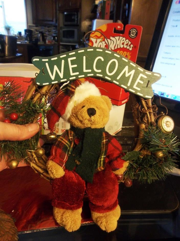 Welcome Wreath grape vine with Teddy bear