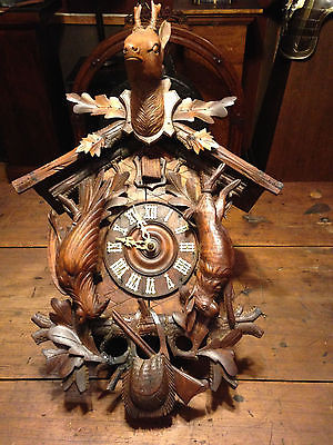 EXCEPTIONAL ~ C1890's HUNTER'S Cuckoo Clock ~ Fabulous Hand Carving
