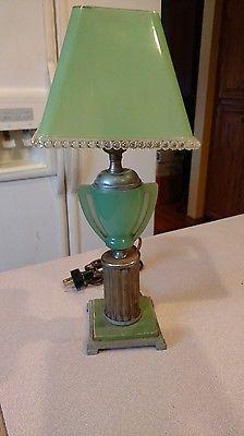 Antique Jadeite Art Deco Desk Lamp With Jadeite Shade