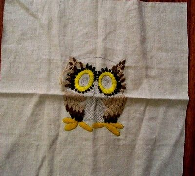 VINTAGE CREWEL EMBROIDERY TO FINISH OWL