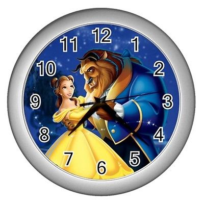Wall clock decor beauty and the beast clock decor