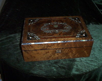 LAP  DESK  ENGLISH WALNUT MOTHER OF PEARL INLAY. 15