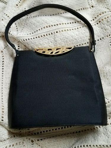 Vintage Nettie Rosenstein Gold Tone clasp Black Purse Antique 1940's