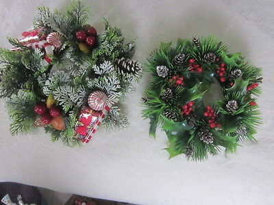 VINTAGE CHRISTMAS WREATHS - 2 - CENTERPIECE PILLAR CANDLE RINGS