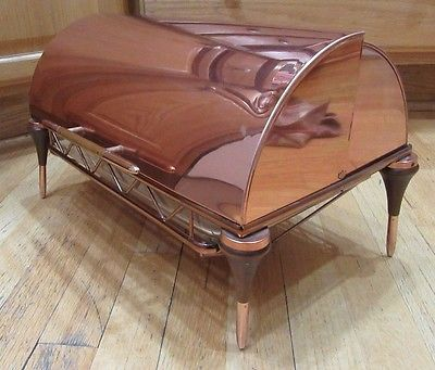 Vintage Mid-Century Modern Copper Chafing Dish Warming Tray w/ Pyrex Glass