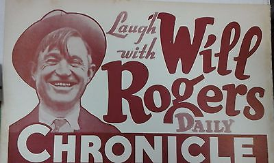 1934 Will Rogers Trolley car cardboard ad