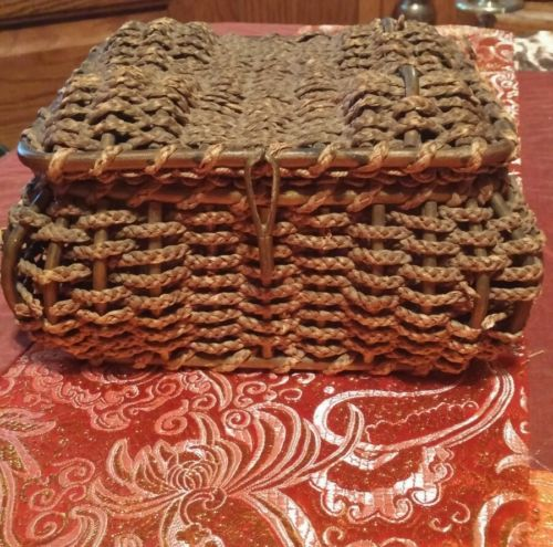Antique Victorian Woven Wicker Sewing Basket w Tufted Silk Lining