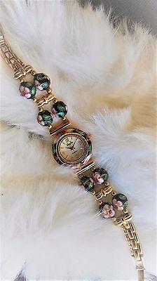 Vanity Fair CLOISONNÉ women's WATCH w/ BLACK round twisted wire cloisonné beads