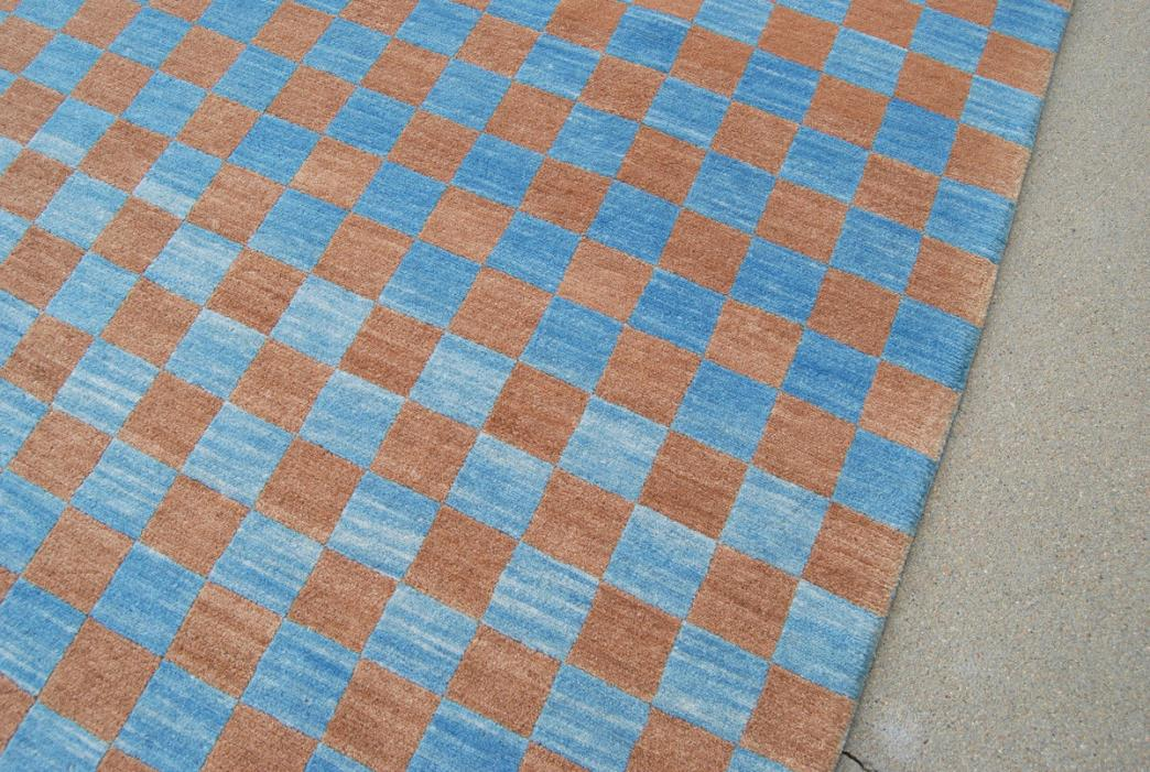 4x6 Handknotted Wool Rug, Blue & Tan Checked, No Offgassing Organic Eco-friendly