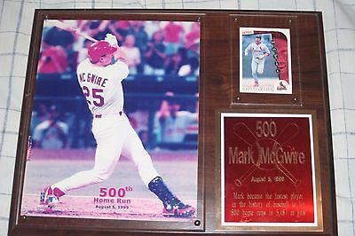 Vintage Mark McGwire 500th Career Home Run Photo Plaque with Baseball Card