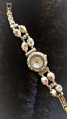 Vanity Fair CLOISONNÉ women's WATCH w/ WHITE oval twisted wire cloisonné beads