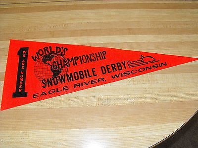 VINTAGE EAGLE RIVER WISCONSIN SNOWMOBILE DERBY RACE BANNER PENNANT SIGN POSTER