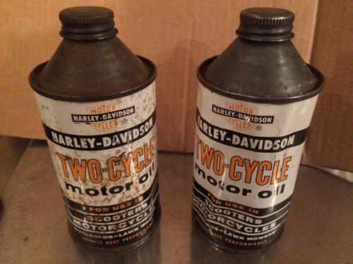 (2) Vintage Harley Davidson Two cycle oil cans Rare Cone Top 12oz Motorcycle