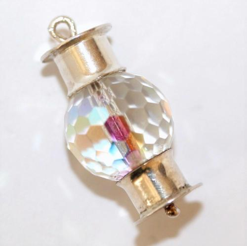 Vintage Sterling Silver Bracelet Charm 3d Crystal Lantern (4g)