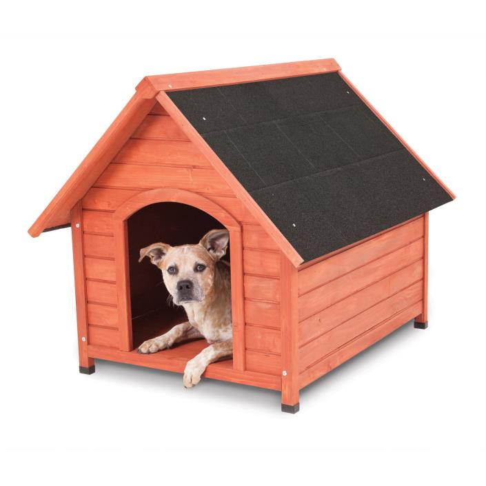 Wood Dog House for Medium Dogs, 50-70 lbs, Outdoor, Raised Floor, Pet