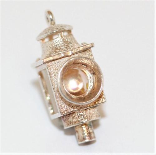 Vintage Sterling Silver Bracelet Charm 3d Carriage Lamp Lantern Pearl Set 3.4g