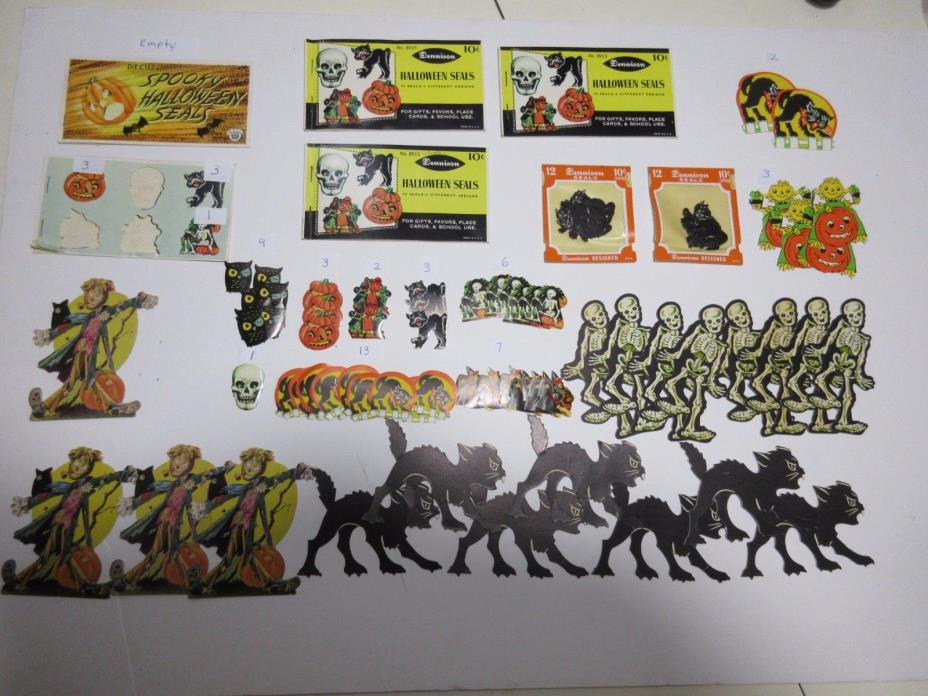 VINTAGE HALLOWEEN HOLIDAY SEALS STICKERS DENNISON DIE CUT DECORATIONS LOT