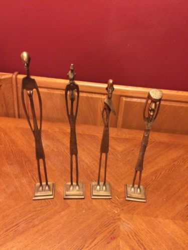VINTAGE 1970 BRASS AFRICAN TALL SKINNY  FIGURE 4pc SET  SCULPTURE POTTERY BARN