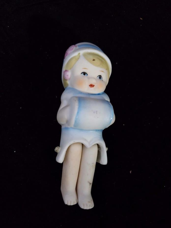 Vintage Bisque Doll Movable Legs Blue Bonnet and hand warmer