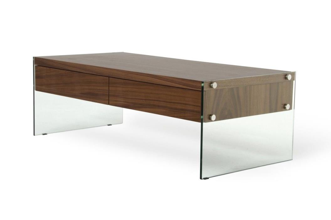 Aura Modern Walnut Floating Coffee Table