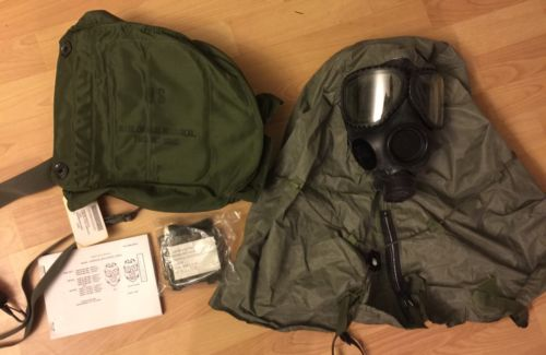 US ARMY Military M17 Gas Mask Hood Bag, Winterization Booklet Vintage FIELD GEAR