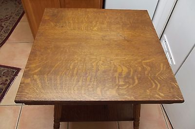 Antique Quartered Oak 2 tier Parlor Lamp Table Stand