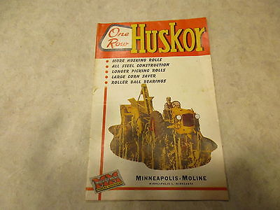 VINTAGE Minneapolis Moline One Row Huskor Sales Brochure , 1951, CORN PICKER