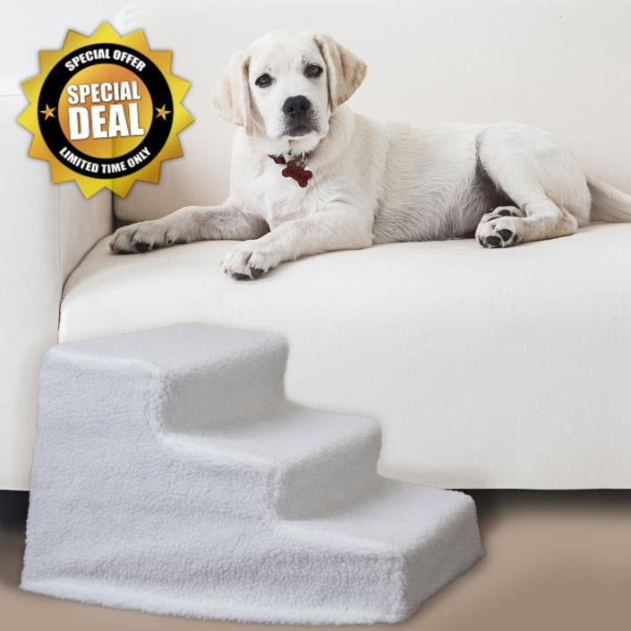 Up to 70lbs Portable Indoor Folding Dog Ramp Ladder Fleece Cover Dogs Pet Steps