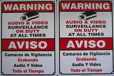 2 CCTV Surveillance Signs Spanish English Metal Security Camera Video Warning