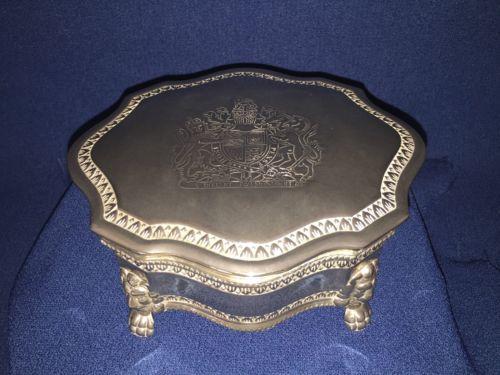 Queen Elizabeth II Coat Of Arms Jewelry Box/trinket Box. Silverplated