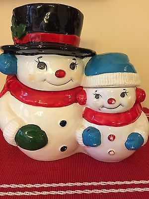 SNOWMAN MUSICAL COOKIE JAR, VINTAGE, PLAYS JINGLE BELLS