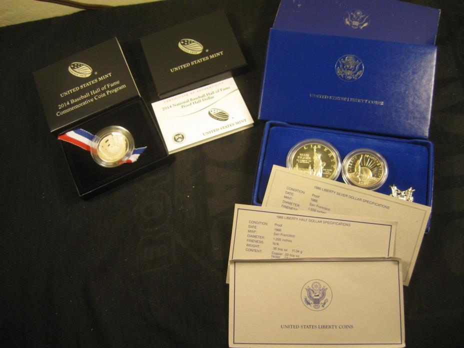 2014 BASEBALL COIN WITH 1986-S LIBERTY TWO COIN SET, SILVER DOLLAR & CLAD HALF